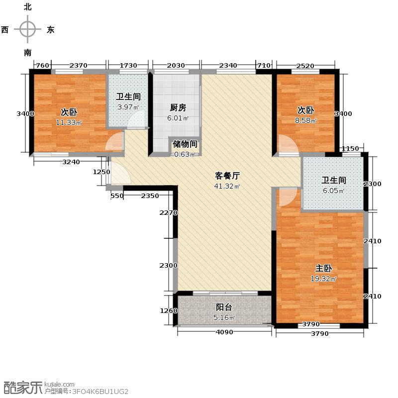 仁恒江湾城138.00㎡A4户户型3室2厅2卫