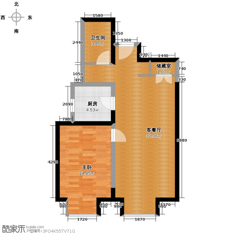 京贸国际城78.61㎡1#楼L户型1室1厅1卫1厨
