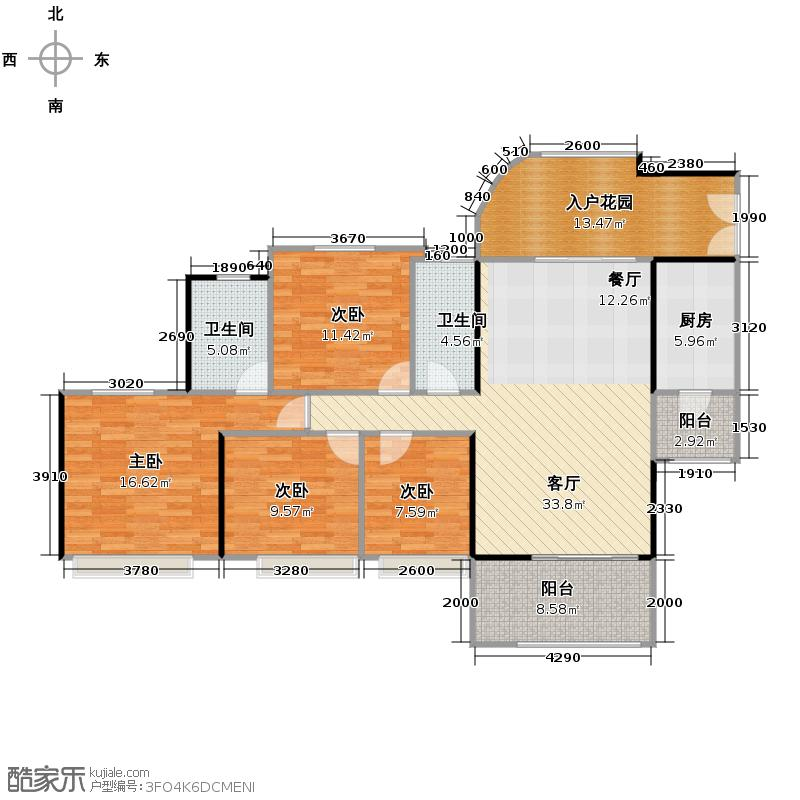 东圣维拉106.19㎡10座3-17层05单位户型4室2厅2卫