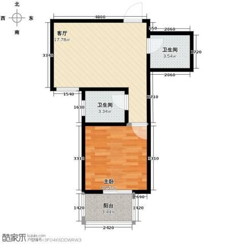 天地荣域1室1厅1卫0厨56.00㎡户型图