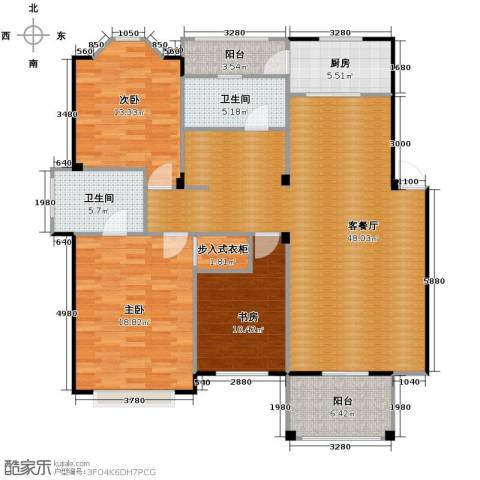 水岸新都花苑3室1厅2卫1厨118.78㎡户型图