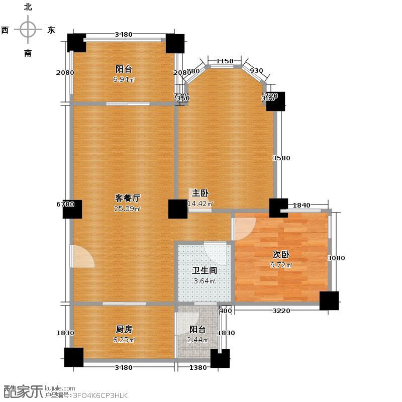 祈福南湾半岛77.41㎡洋房2A单位户型2室2厅1卫