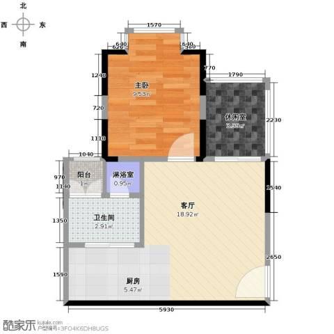 25度阳光1室1厅1卫0厨51.00㎡户型图