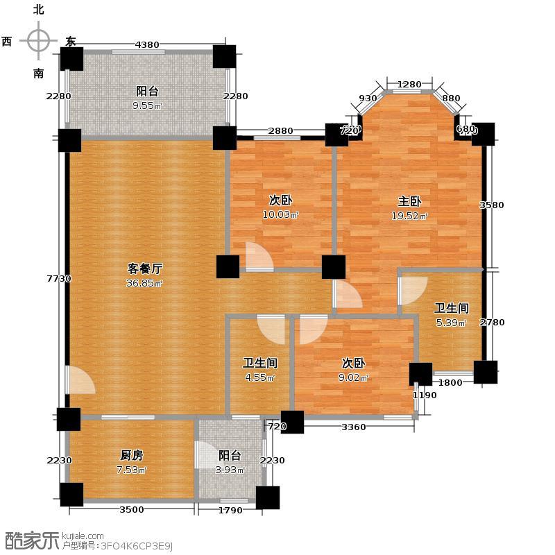 祈福南湾半岛117.71㎡洋房3B单位户型3室2厅2卫