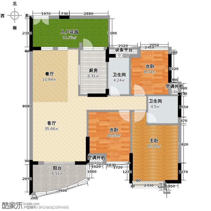 君御海城127.00㎡E131/33栋5~29层户型3室2厅2卫