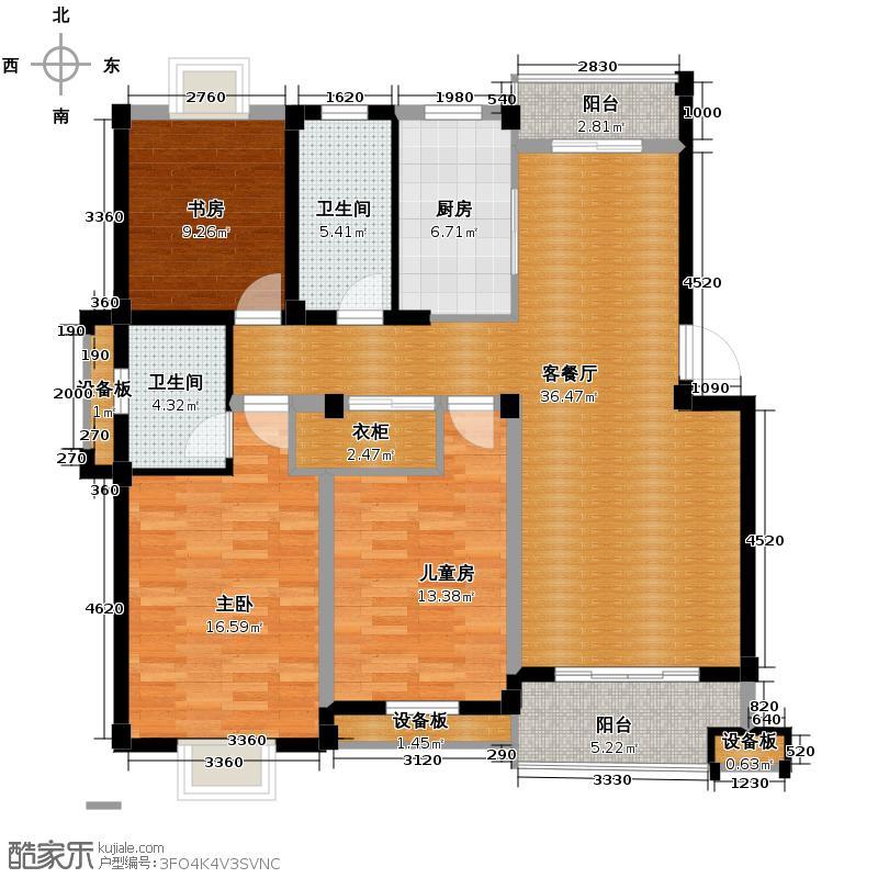 帝凯帝景园123.50㎡B2户型3室1厅2卫1厨