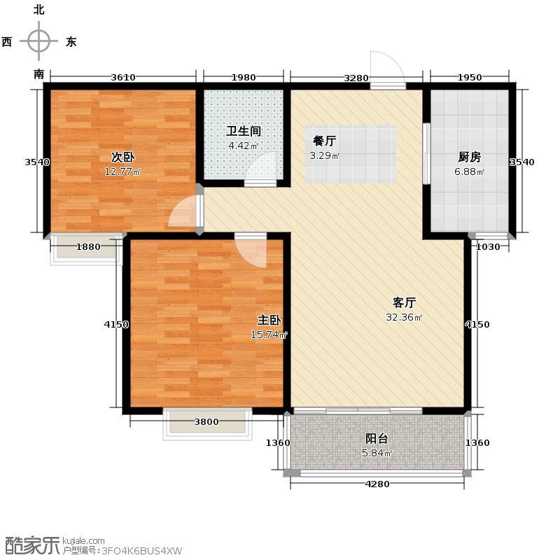 银佛家园103.37㎡B户型2室2厅1卫