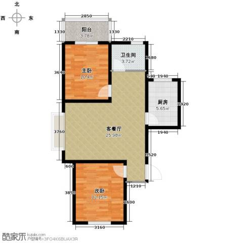天洲沁园2室2厅1卫0厨87.00㎡户型图