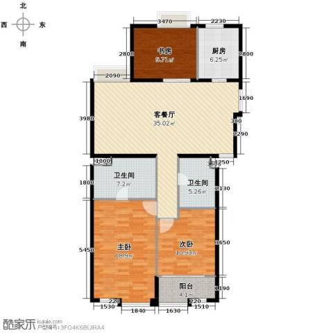 栖庭3室1厅2卫1厨134.00㎡户型图
