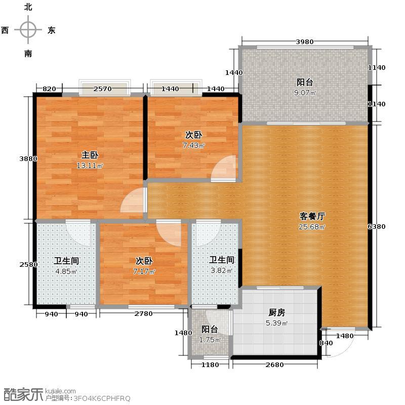 云山峰境花园90.00㎡二期2座03单位户型3室3厅2卫