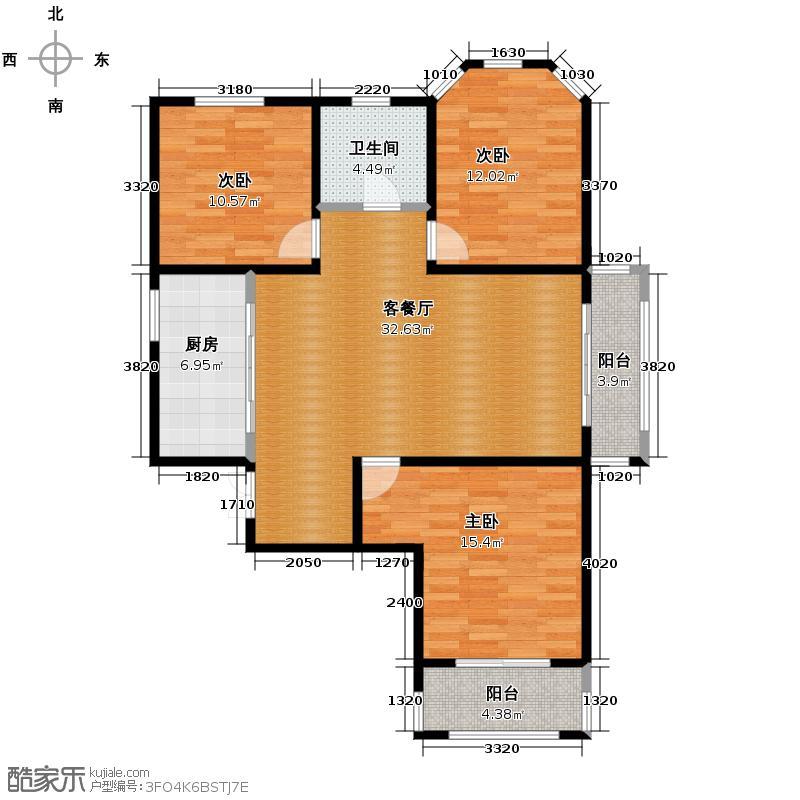 紫晶悦城123.71㎡7号楼A户型3室2厅1卫