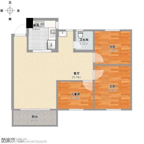盛地龙泉3室1厅1卫1厨85.00㎡户型图