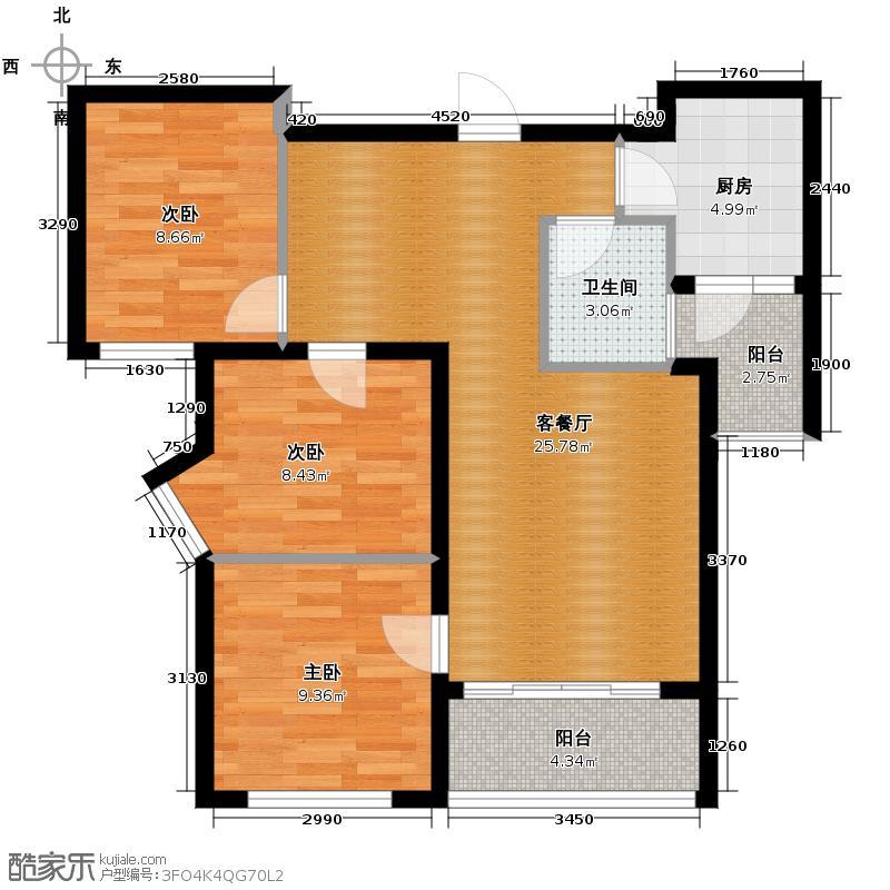 成都国韵村88.00㎡二期E1E2户型3室1厅1卫1厨