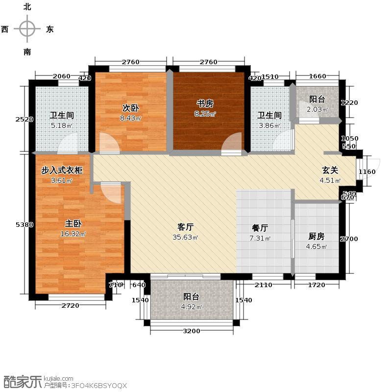 万科缤纷四季113.00㎡36号楼01/04单元户型3室1厅2卫1厨