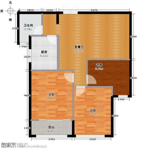 栖庭3室1厅1卫1厨102.00㎡户型图