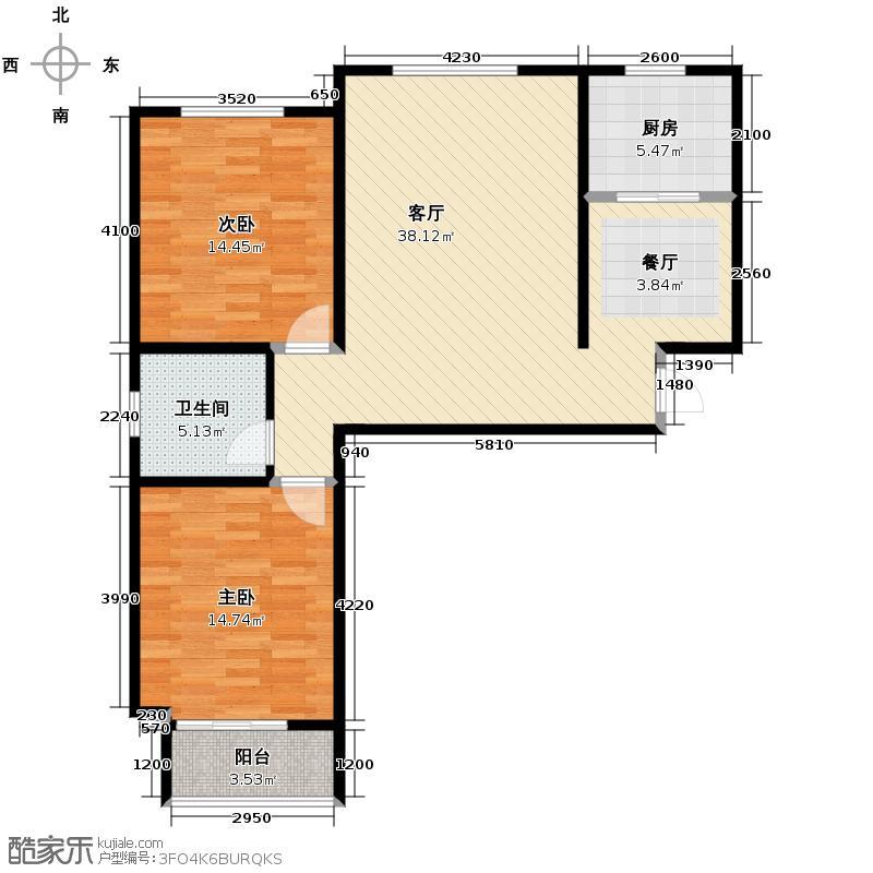银佛家园113.66㎡A户型2室2厅1卫