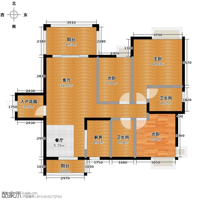 尚观御园115.00㎡三期33座02单位户型3室2厅2卫