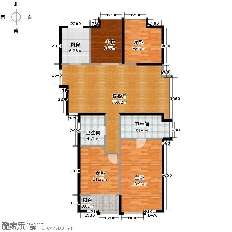 栖庭116.55㎡A户型4室1厅2卫1厨