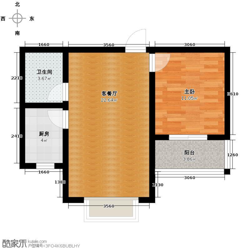 天洲沁园63.26㎡户型1室2厅1卫