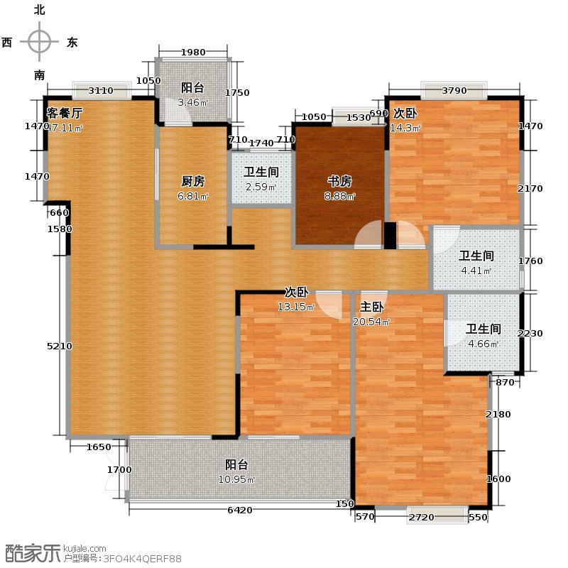 成都国奥村157.00㎡二期一批次H2户型4室1厅3卫1厨