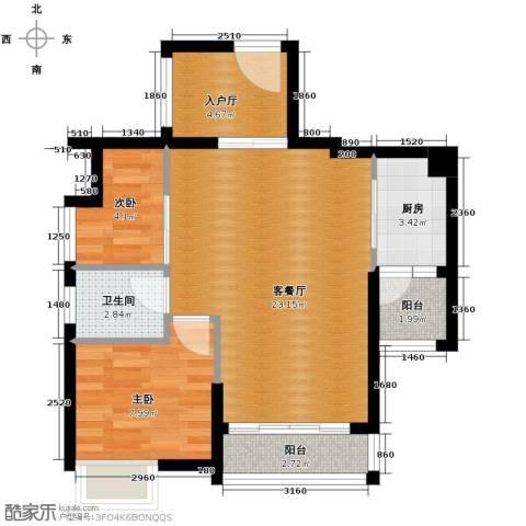 滨溪星苑2室1厅1卫1厨59.26㎡户型图