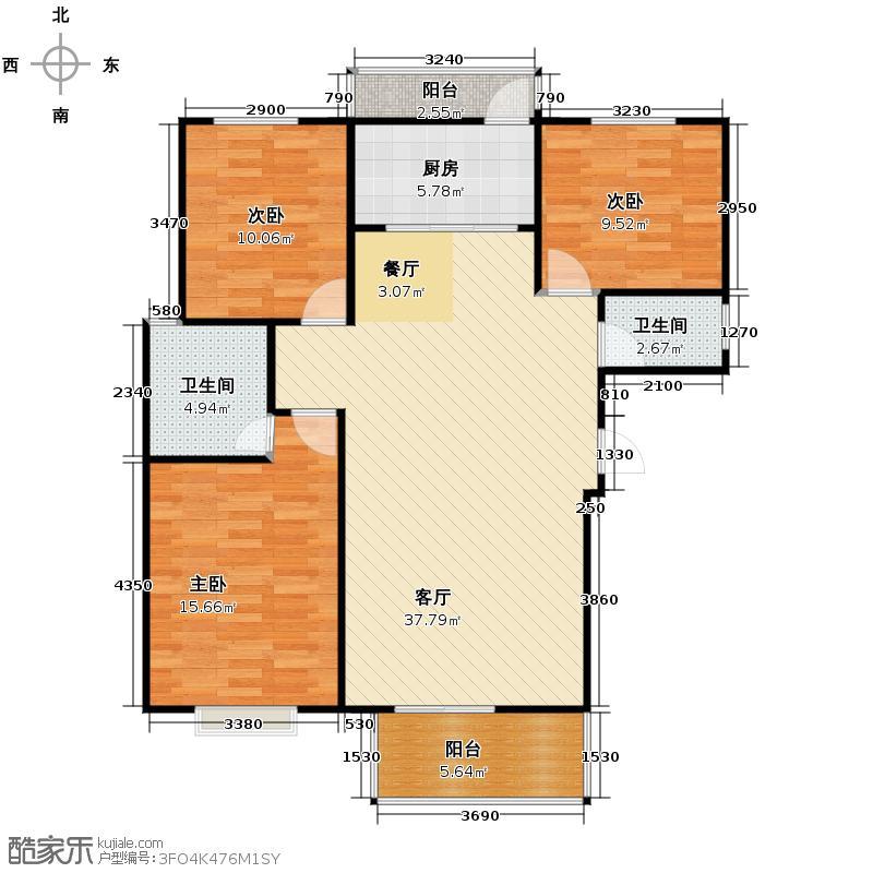 汇锦城121.82㎡7#户型3室1厅2卫1厨