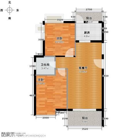 东方海岸2室2厅1卫0厨84.00㎡户型图
