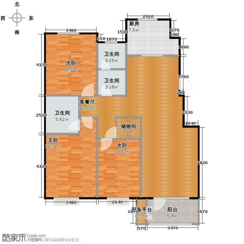 �和嘉园144.75㎡B户型3室1厅3卫1厨