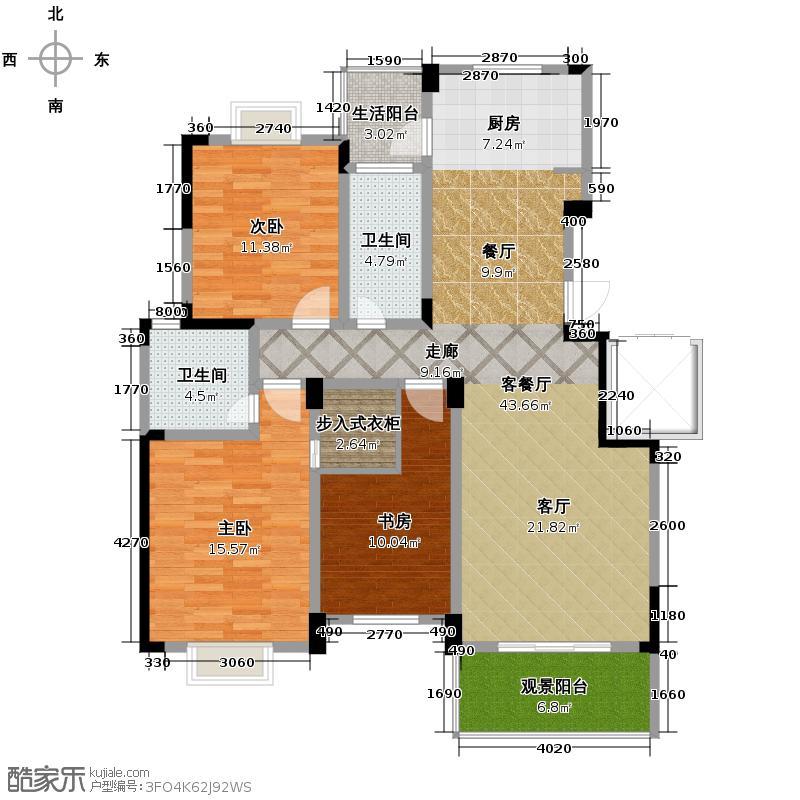 金海香滨湾137.00㎡户型3室1厅2卫