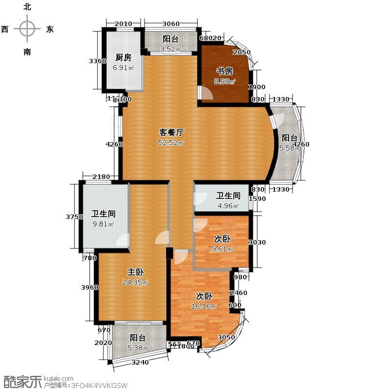 翡翠城166.37㎡梅苑1、3号楼C2户型4室1厅2卫1厨