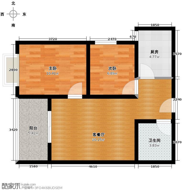 紫熙东苑73.48㎡B2户型2室1厅1卫