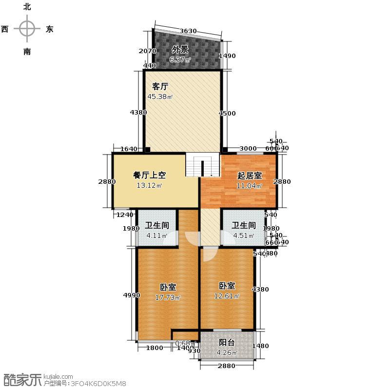 闽都星锦湾180.00㎡A上层户型3室2厅2卫