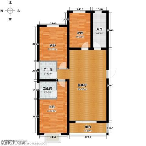天洲沁园3室2厅2卫0厨130.00㎡户型图