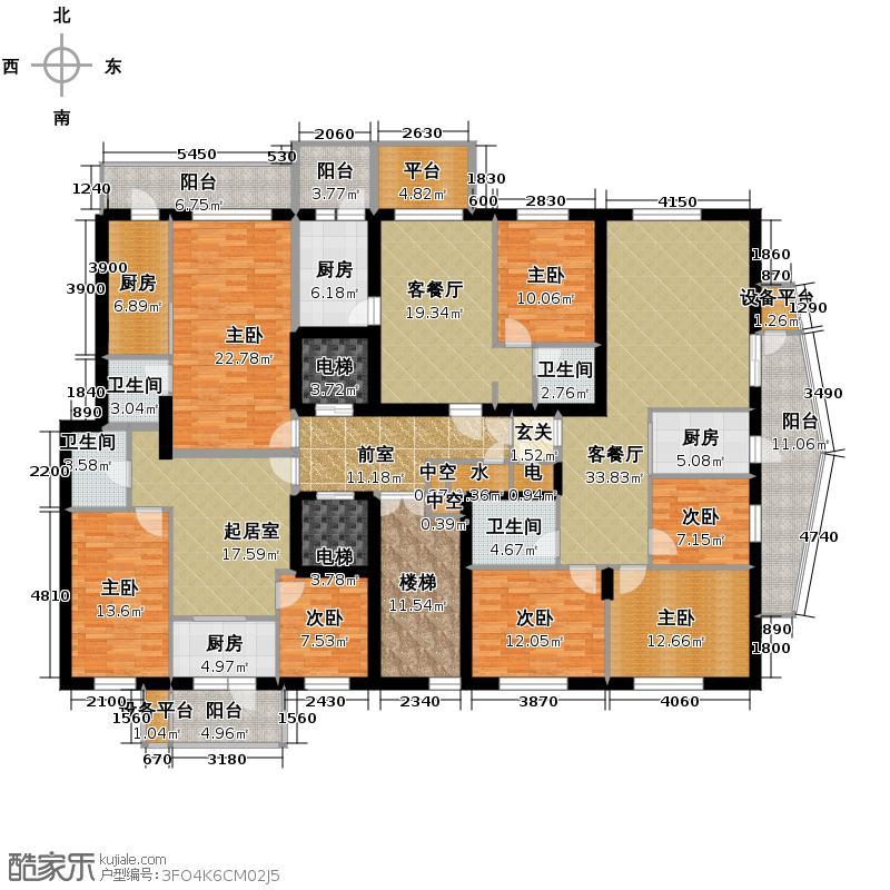 滨江国际306.43㎡B2栋1单元2层户型10室