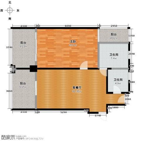 三亚康年四季龙湾产权酒店1室1厅2卫0厨111.00㎡户型图
