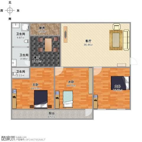 鑫海苑3室2厅3卫1厨170.00㎡户型图