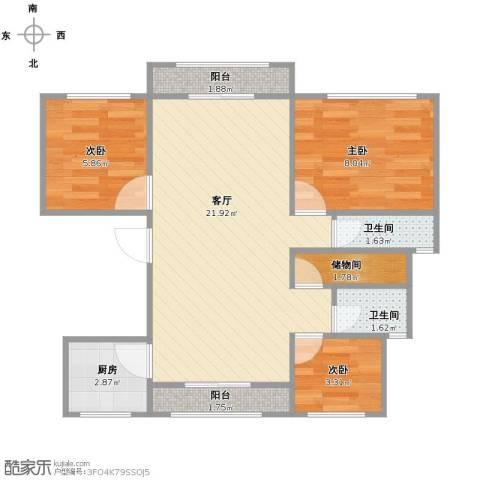 环球翡翠湾花园3室1厅2卫1厨70.00㎡户型图