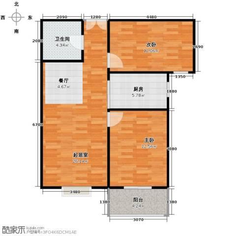 紫睿天和2室2厅1卫0厨88.00㎡户型图