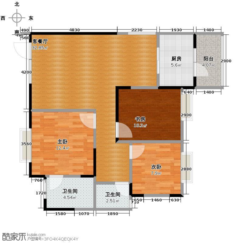 成都国奥村106.00㎡二期一批次LQ户型3室1厅2卫1厨