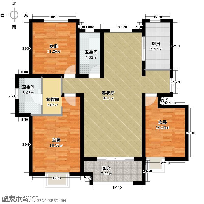 想象国际148.12㎡F户型3室2厅2卫