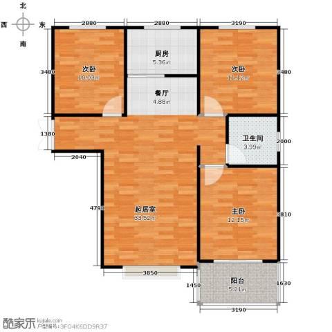 紫睿天和3室2厅1卫0厨109.00㎡户型图