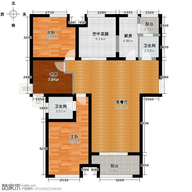 祥源广场141.00㎡2#楼D1户型3室2厅2卫
