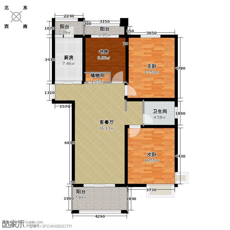 凤凰和美123.00㎡01、02、03栋A户型3室1厅1卫1厨