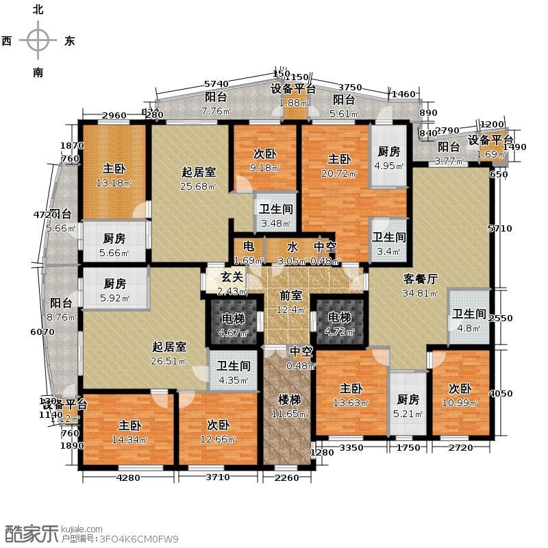滨江国际339.95㎡B1栋3单元19-45层户型10室