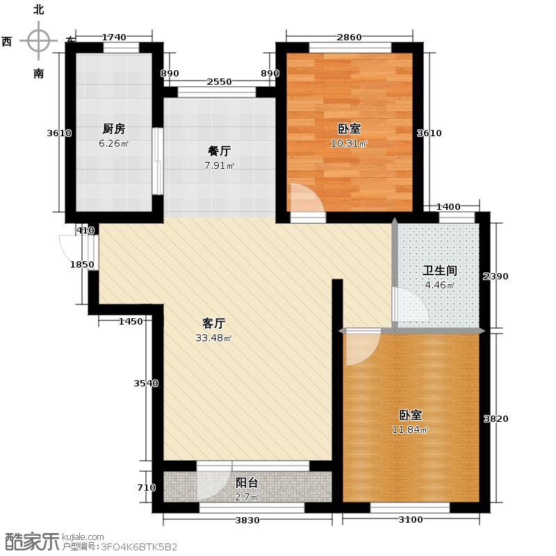 紫林湾99.48㎡C户型2室2厅1卫