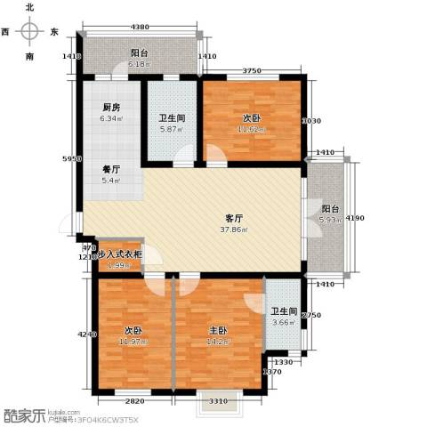 鑫都绿荫芳邻3室2厅2卫0厨147.00㎡户型图