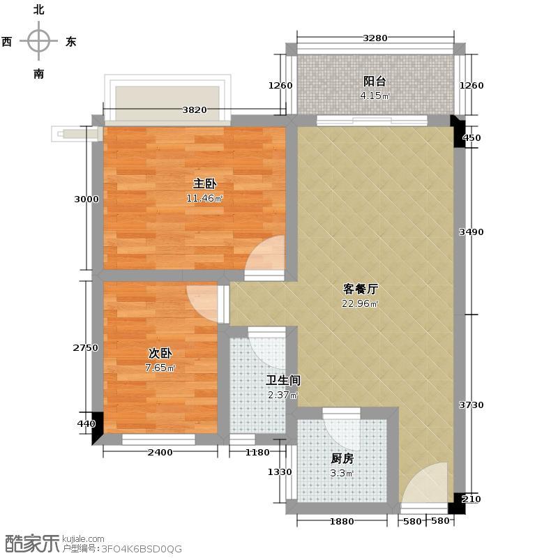 日高卡卡58.00㎡户型2室1厅1卫1厨