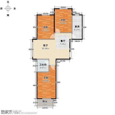 居美颐园3室1厅1卫1厨123.00㎡户型图