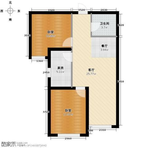 紫林湾2室2厅1卫0厨84.00㎡户型图