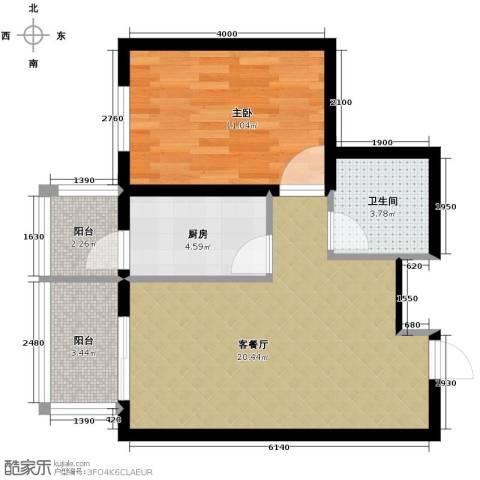 中山国际1室1厅1卫1厨66.00㎡户型图